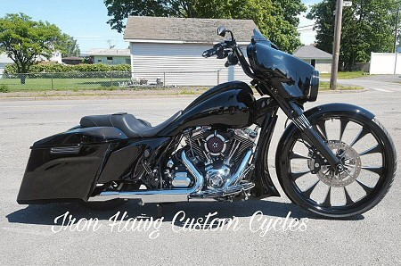 "Custom Harley Bagger Motorcycle - 2016 FLHX Bagger With 26"" Wheel - By Iron Hawg Custom Cycles Inc. Hazleton, PA."