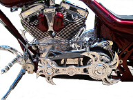 Chrome Motorcycle Accessories, Chrome Forks, Chrome Trees, Chrome Pedals, Rests, Shifters, Chrome Spoke Wheels, Harley Engine Chrome PA.